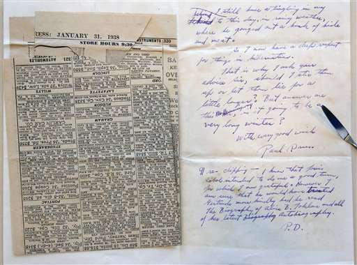 A letter and newspaper clipping sent to Ernest Hemingway from writer Paul Drus in 1938, a part of the Hemingway collection at the John F. Kennedy Library and Museum in Boston, which is being sent out for restoration. The Associated Press photo