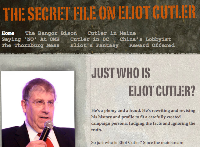 A screen shot of TheCutlerFiles.org.