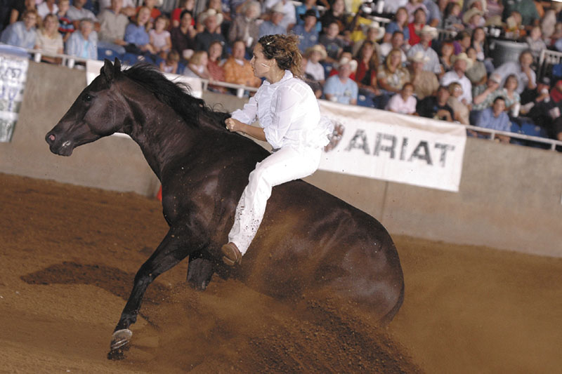 FAMOUS RIDE: Stacy Westfall, who was raised in Palermo and South China, is seen during a bareback bridle-less ride with Whizards Baby Doll — aka Roxy — seen by millions on Internet during a 2006 championship ride at the All American Quarter Horse Freestyle Competition. Westfall, who performed the ride in her memory of her father who died that year, won that competition with a high score of 239 and without using a bridle or a saddle. Ellen DeGeneres invited Westfall onto her TV show and her ride went on YouTube, where it was viewed more than 1 million times.