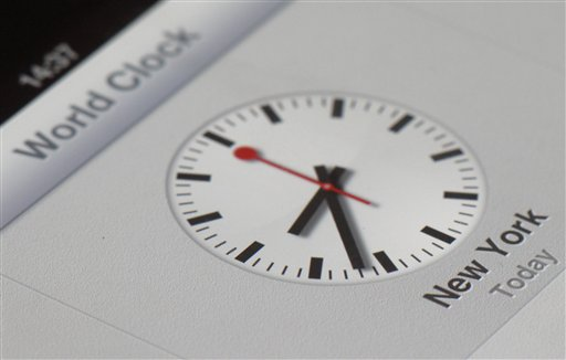 The clock symbol display on an iPad with the new iOS 6 operating system.