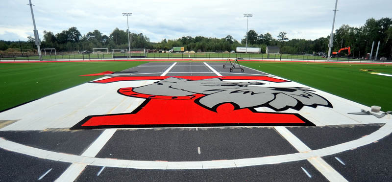 NICE LOGO: The Thomas College is putting the finishing touches a pair of turf fields at the school.