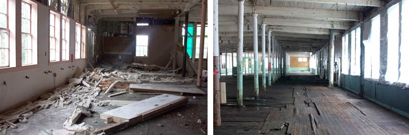Asbestos-laden debris inside the former Forster Mill in Wilton before the cleanup, left, and after.