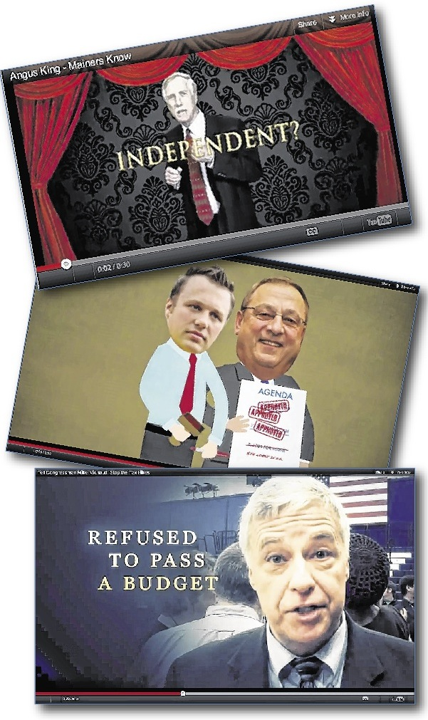 Negative ads that have aired this season include, from top, a U.S. Chamber of Commerce ad attacking independent U.S. Senate candidate Angus King; Maine Democrats taking aim at various state senators; and the National Republican Congressional Committee trying to take a bite out of U.S. Rep. Mike Michaud.