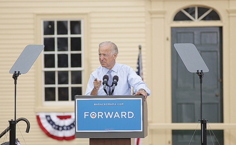 Vice President Joe Biden speaks at a rally in Portsmouth, N.H., Friday at a campaign stop with President Barack Obama, first lady Michelle and Jill Biden.