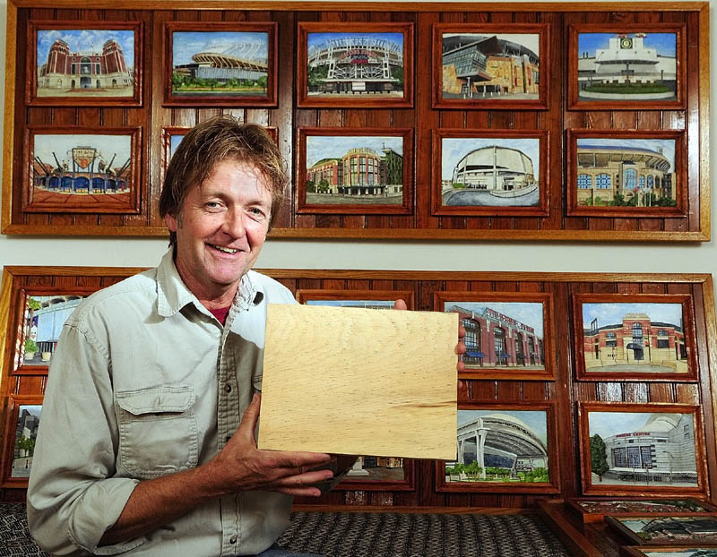 All of the 36 ballparks that John Kennedy carved all started out as a 9-by-12-inch piece of Eastern White Pine. The frames are carved from the same block of wood.