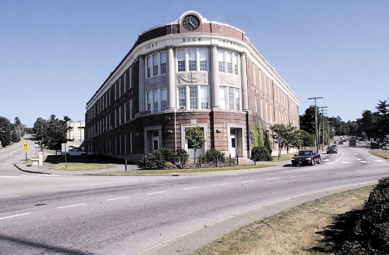 The Cony High School flatiron building in Augusta is being eyed for redevelopment by Housing Initiatives of New England, a firm that has had success in redeveloping an old building in Augusta once before -- old City Hall.