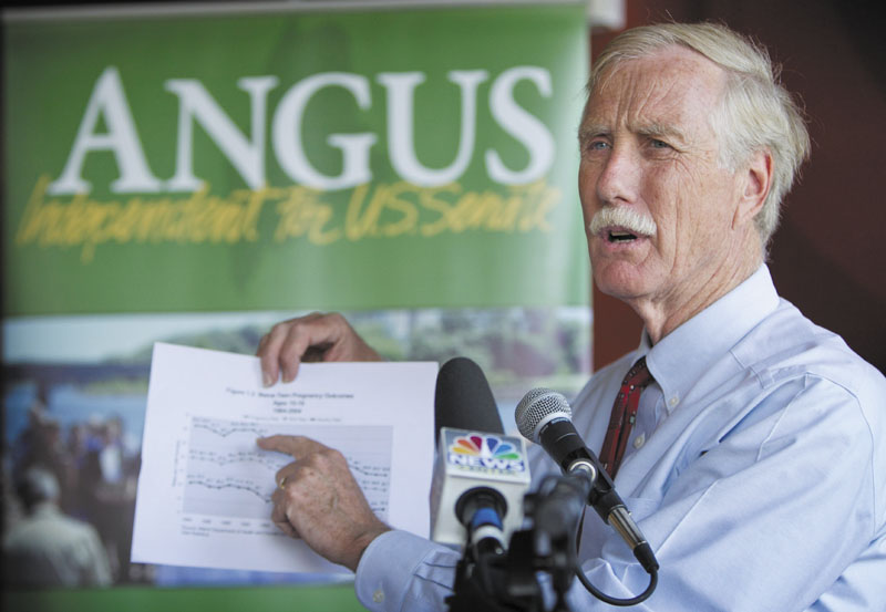 Angus King is pictured in this 2012 file photo.