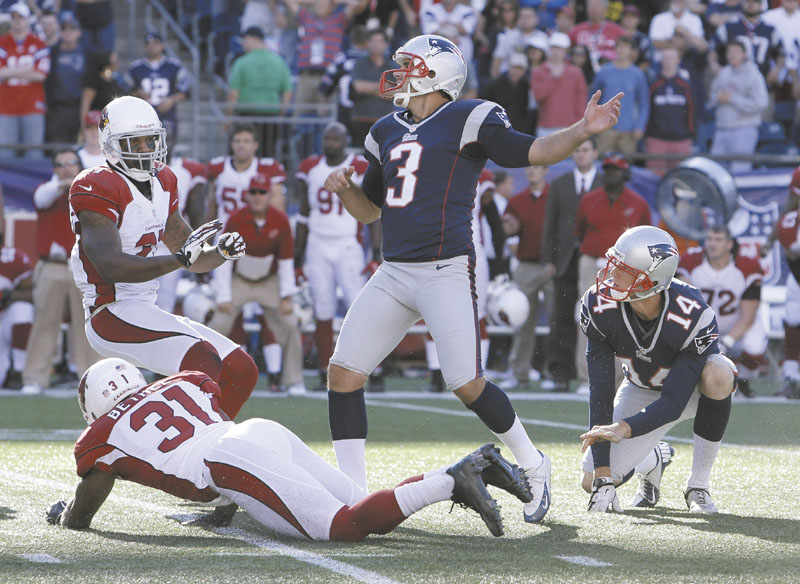 UGH: Stephen Gostkowski missed a 42-yard field goal with one second left last Sunday that would have given the New England Patriots a win over the Arizona Cardinals. The Patriots face the Baltimore Ravens tonight in a rematch of the AFC Championship game. Gillette Stadium
