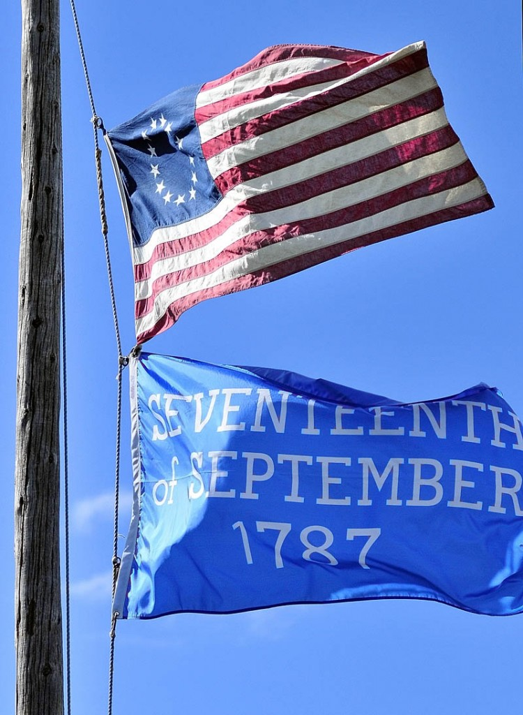 The Daughters of the American Revolution presented the blue flag commemorating the 225th anniversary of the US Constitution during festivities on Saturday afternoon at Old Fort Western in Augusta.