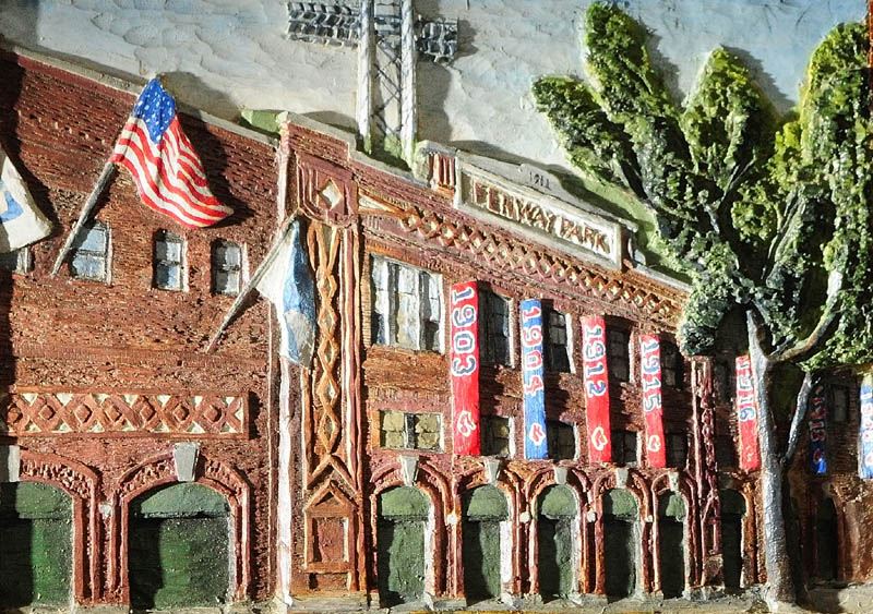 Fenway Park and the other 35 ballpark carvings by John Kennedy look like a painting from a distance, but are carved in white pine and then painted.