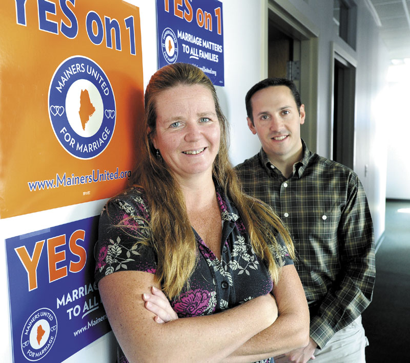 The Rev. Sue Gabrielson and Matt McTighe at their Mainers United for Marriage headquarters in Portland on Friday.