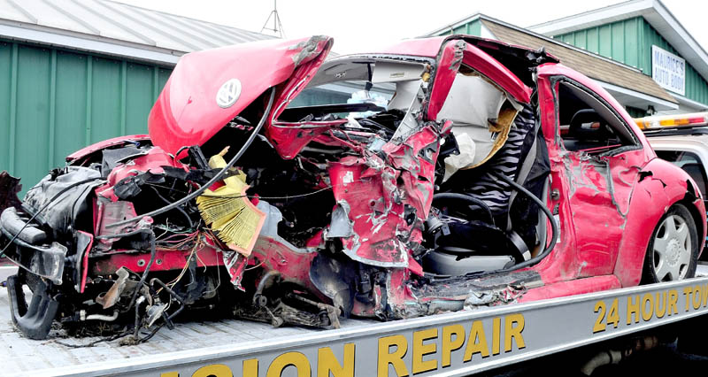 Anna Clark, 18, of Waterville, underwent surgery Wednesday for injuries she received when this Volkswagen Beetle she was driving collided with a fully-loaded tractor trailer pulp truck on U.S. Route 201 in Fairfield.