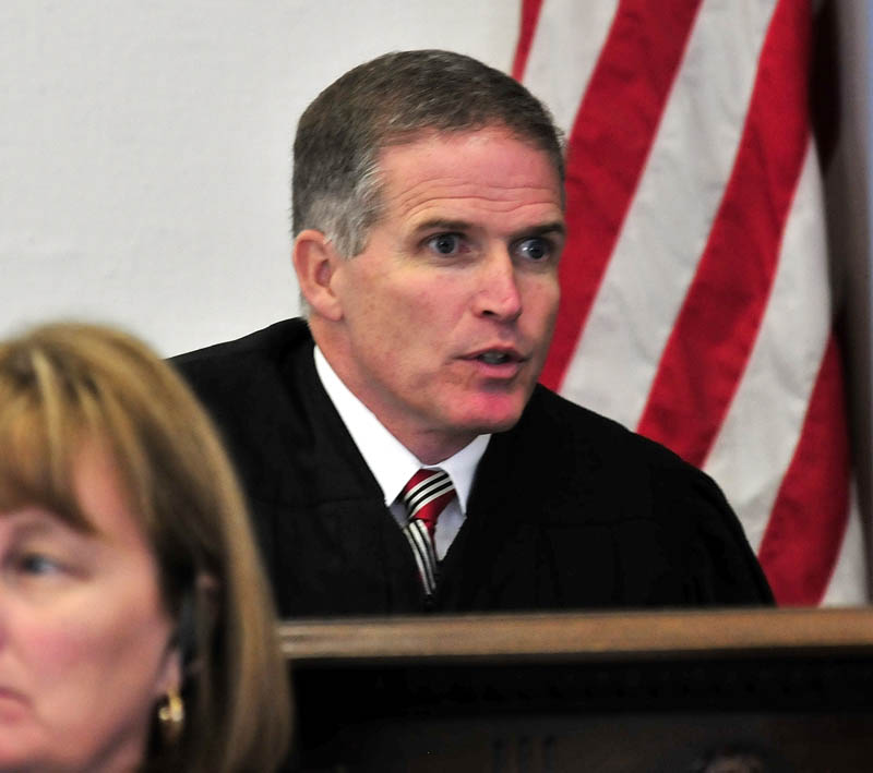 Justice John Nivison speaks with jurors during opening statements in the trial of Jay Mercier in Somerset County Superior Court in Skowhegan on Thursday. Mercier is on trial in the death of Rita St. Peter 32 years ago in Anson.