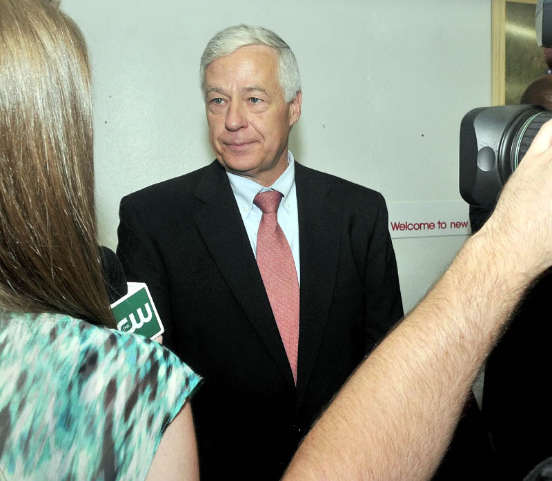 Staff photo by David Leaming U.S. Rep. Mike Michaud is interviewd during a tour at the New Balance shoe factory in Norridgewock on Thursday.