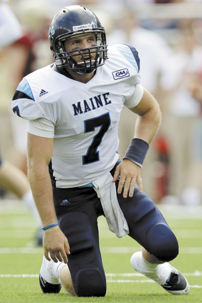 LONG DAY: Maine quarterback Marcus Wasilewski (7) reacts after throwing an incomplete pass during the Black Bears' 34-3 loss to Boston College on Saturday at Alumni Stadium in Boston.