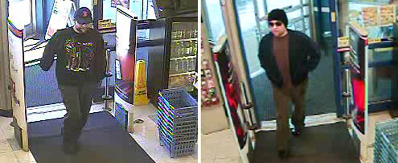 Police are comparing security camera images of the robbery Sunday, left photo, of a Rite Aid pharmacy with images from a robbery at the same store a month ago, right photo.