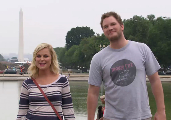 Leslie Knope (Amy Poehler) and Andy Dwyer (Chris Pratt) visit the nation's capital, in this trailer image for tonight's episode.