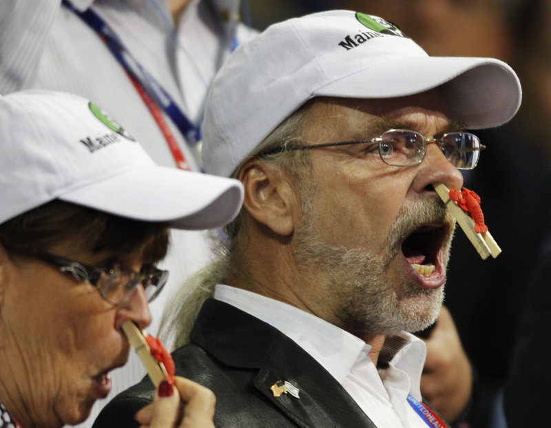 Delegates from the state of Maine protest during the presentation of rules during the Republican National Convention in Tampa, Fla., last week.