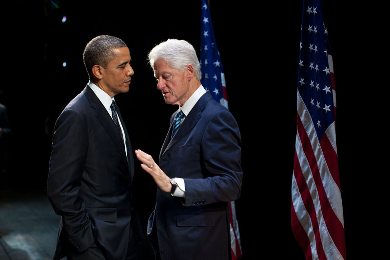 President Obama talks with former President Bill Clinton backstage at a New York City theater in June. Clinton's speech at the Democratic convention is Wednesday night.