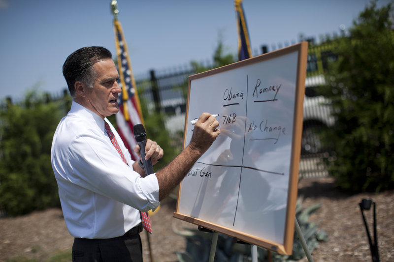 Republican Mitt Romney talks about Medicare last month in Greer, S.C. He has called for restructuring Medicare by giving retirees a government payment that they would use to choose between Medicare and private insurance.