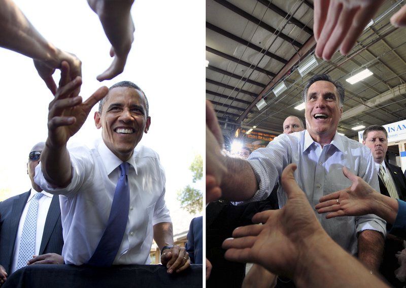 President Obama, greeting the crowd Tuesday at Capital University in Columbus, Ohio, and Mitt Romney, campaigning earlier this year in Boise, Idaho, are offering voters stark differences in philosophy about government's role.