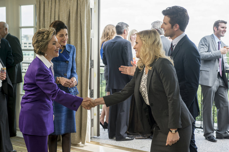 "Sen. Olympia Snowe appears in a scene from NBC's ""Parks and Recreation,"" which aired last week. At left is California Sen. Barbara Boxer and at right is actress Amy Poehler portraying the character Leslie Knoppe."