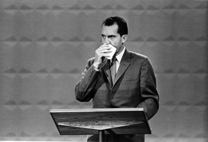 In 1960, in the first televised presidential debate, Republican presidential candidate Vice President Richard M. Nixon appeared clammy and tired next to a tanned and rested John F. Kennedy.