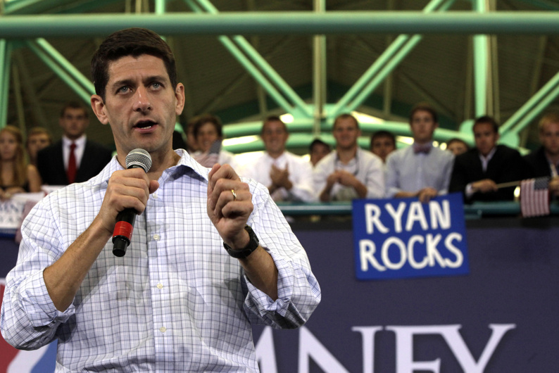 Republican vice-presidential candidate Rep. Paul Ryan, R-Wis., speaks during a campaign event Monday at East Carolina University in Greenville, N.C.