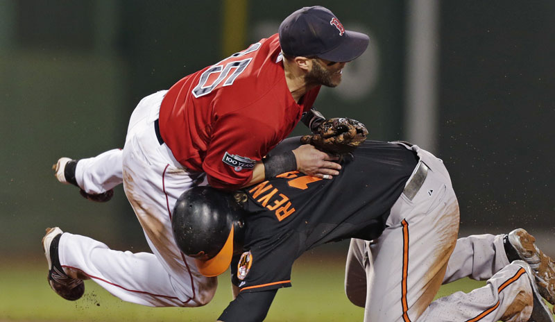 Boston Red Sox second baseman Dustin Pedroia, left, collides with Baltimore Orioles' Mark Reynolds, who is out at second while unsuccessfully trying to break up a double play, during the sixth inning of a baseball game at Fenway Park in Boston, Friday, Sept. 21, 2012. (AP Photo/Charles Krupa)