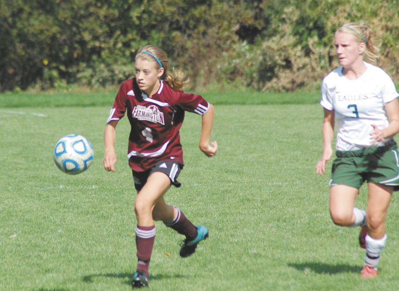HAVING FUN: Waterville Senior High School graduate Kayla Tuttle had four goals and two assists in four games for the University of Maine at Farmington women's soccer team before their game Tuesday.