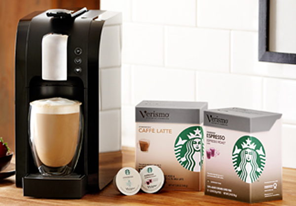 A Starbucks Verismo brewer with coffee pods.