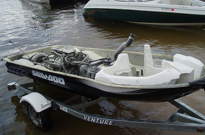 This Sea Doo 1GTX 155 water craft exploded Saturday on Long Lake in Naples, and its operator was thrown 20 feet into the air and the taken to the hospital with non-life threatening injuries.