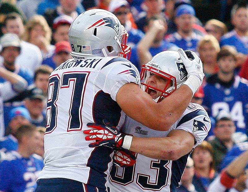 Rob Gronkowski celebrates his touchdown with Wes Welker against the Buffalo Bills during the second half Sunday Orchard Park, N.Y.
