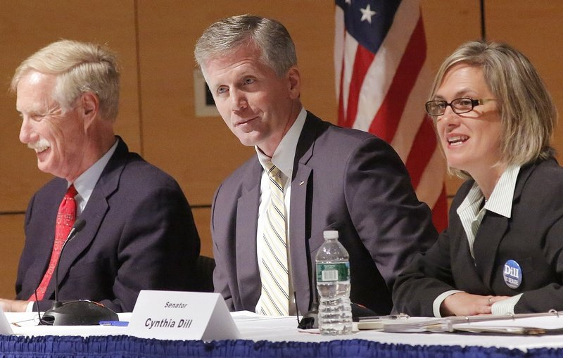 U.S. Senate candidates, from left, independent Angus King, Republican Charlie Summers and Democrat Cynthia Dill, participate in a debate at the University of Southern Maine in Portland on Sept. 13.