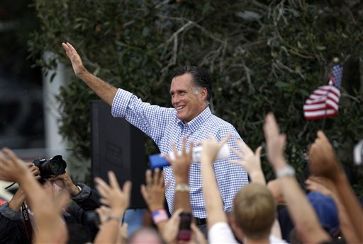 Republican presidential candidate and former Massachusetts Gov. Mitt Romney waves following a campaign rally, Sunday, Oct. 7, 2012 in Port St. Lucie, Fla. (AP Photo/Lynne Sladky)