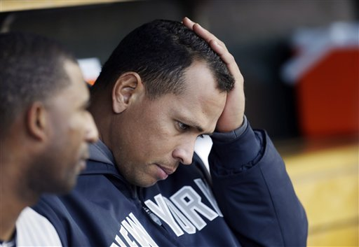 New York Yankees' Alex Rodriguez sits on the bench during Game 4 of the American League championship series against the Detroit Tigers on Thursday in Detroit.