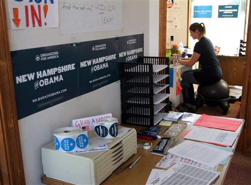 Erika Grantier, field coordinator for President Barack Obama, works in the office in Berlin, N.H.