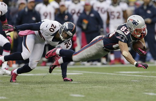 New England Patriots wide receiver Wes Welker (83) stretches for extra yardage as he is tackled by Denver Broncos strong safety Mike Adams (20) during an NFL football game at Gillette Stadium in Foxborough, Mass., Sunday Oct. 7, 2012. (AP Photo/Elise Amendola)