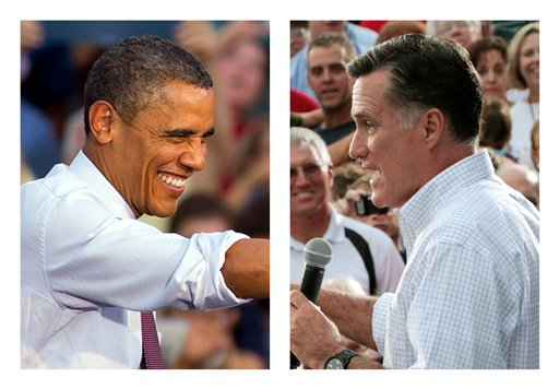 President Barack Obama and Republican presidential candidate Mitt Romney. Both are campaigning in battleground state Ohio today.
