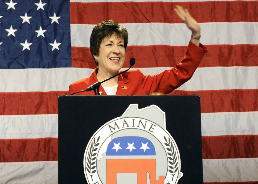 John Patriquin/Staff Photographer.Sat., May,5,2012. Maine Senator Susan Collins speaks at the GOP State Convention at the Augusta Civic Center.