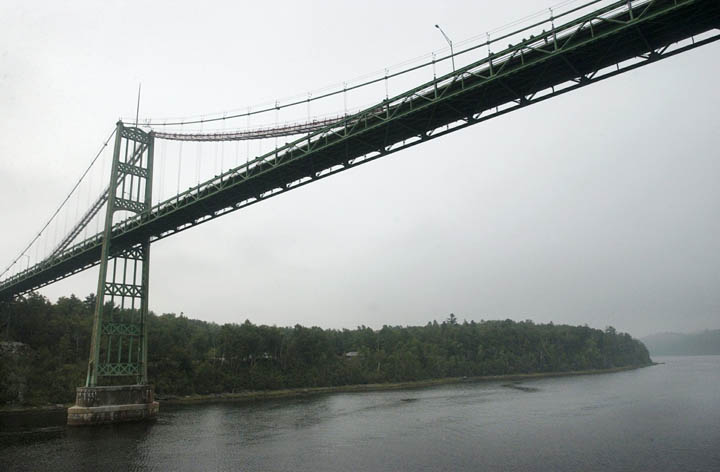 The Waldo-Hancock Bridge spanning the Penobscot River at Prospect and Verona Island, in a 2003 photo. The bridge, designed by renowned engineer David B. Steinman, is one of 50 suspension bridges in the U.S.