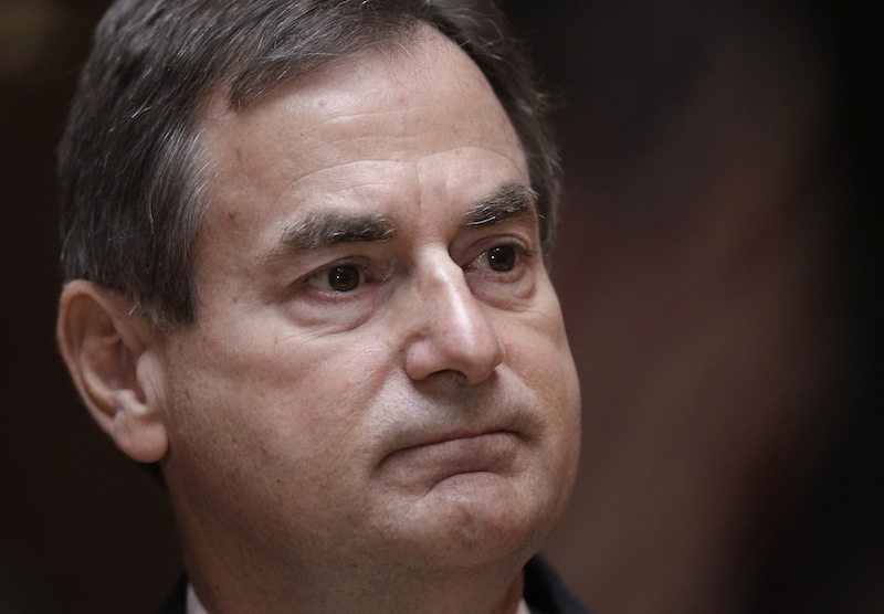 """Indiana Republican Senate candidate Richard Mourdock pauses during a news in Indianapolis, Wednesday, Oct. 24, 2012, to explain the comment he made during last night Senate debate. Mourdock said that when a woman becomes pregnant during a rape, """"that's something God intended."""" Mourdock has been locked in a close contest with Democratic Rep. Joe Donnelly. (AP Photo/Michael Conroy)"""