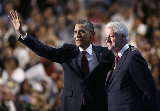President Barack Obama embraces former President Bill Clinton at the Democratic National Convention in this Sept. 5, 2012, photo.