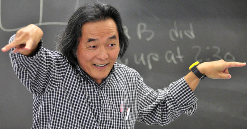 Naoto Kobayashi teaches a Japanese language class on Thursday afternoon at Richmond Middle School.
