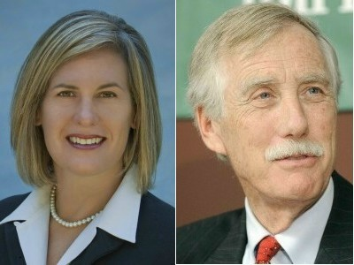 Cynthia Dill and Angus King