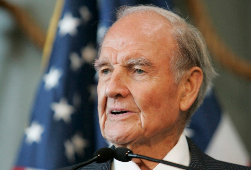 In this April 18, 2009, file photo former Sen. George McGovern delivers remarks at the National World War II Museum in New Orleans. Ann McGovern, the former senator's daughter, said Wednesday, Oct. 17, 2012, it's a blessing that she and other family members are able to surround her father as he declines in hospice care in South Dakota. (AP Photo/Bill Haber, File)
