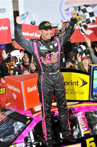 Clint Bowyer celebrates his win in Victory Lane after the NASCAR Sprint Cup Series auto race at Charlotte Motor Speedway, Saturday, Oct. 13, 2012, in Concord, N.C. (AP Photo/Autostock, Nigel Kinrade) MANDATORY CREDIT 2012;Bank of America 500;NASCAR;Race;Charlotte Motor Speedway;October;Sprint Cup Series;Concord;North Carolina;Autostock;Chase