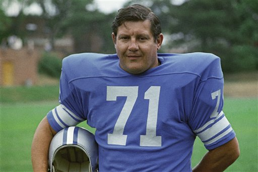 A 1971 photo of Detroit Lions football player Alex Karras, who died at home in Los Angeles on Wednesday surrounded by family.