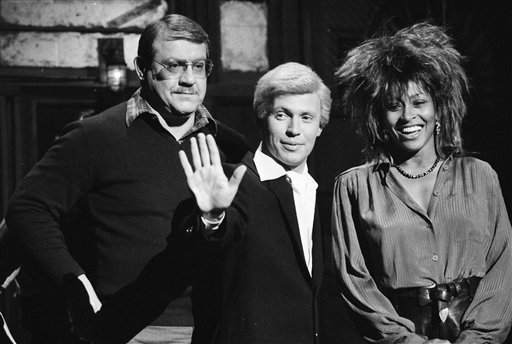 "A 1985 photo of a ""Saturday Night Live"" rehearsal with host Alex Karras, left, Billy Crystal, in character as ""Fernando,"" and musical guest Tina Turner."