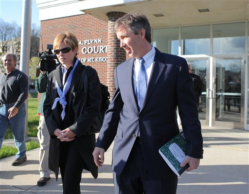 Douglas Kennedy, right, son of the late Sen. Robert F. Kennedy, arrives at village court in Mount Kisco, N.Y., in this April 12, 2012, photo,
